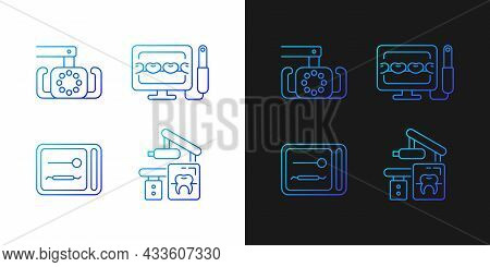 Dental Devices Gradient Icons Set For Dark And Light Mode. Lightening Oral Cavity. Sterilizer Box. T