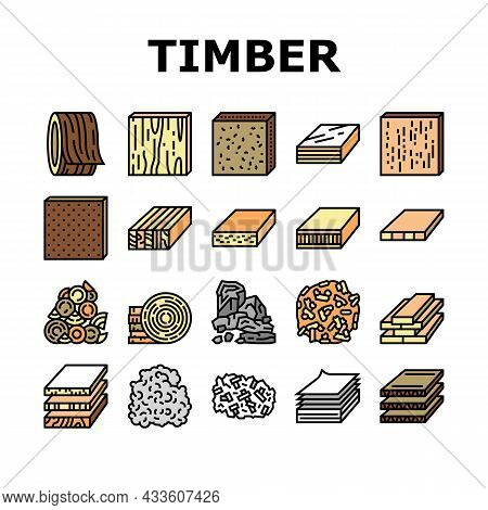 Timber Wood Industrial Production Icons Set Vector. Fiber Board And Round Wooden Desk, Pellets And P