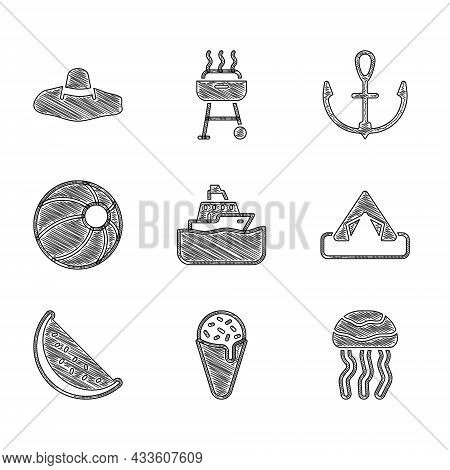 Set Cruise Ship, Ice Cream In Waffle Cone, Jellyfish, Tourist Tent, Watermelon, Beach Ball, Anchor A