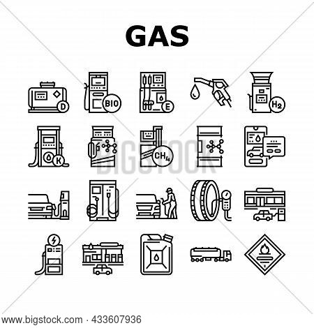 Gas Station Refueling Equipment Icons Set Vector. Diesel And Gasoline, Ethanol And Methanol Gas Stat