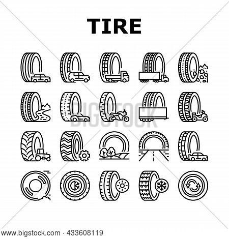 Used Tire Sale Shop Business Icons Set Vector. Winter And Summer Seasonal Used Tire For Truck And Ca