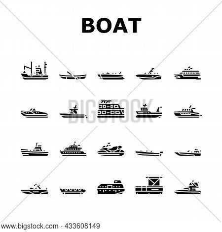 Boat Water Transportation Types Icons Set Vector. Runabout And Catamaran, Fishing And Bowrider, Moto