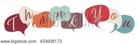 Colored Speech Bubble With Inside Letters Forming The Text -thank You- Teamwork. Gratitude Message B