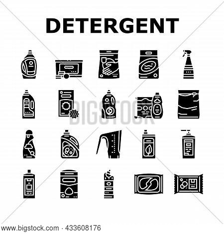 Detergent Organic Laundry Soap Icons Set Vector. Detergent Gel Container And Canister, Chemical Liqu