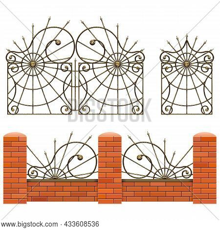 Vector Brick Fence With Wrought Iron Gates Isolated On White Background