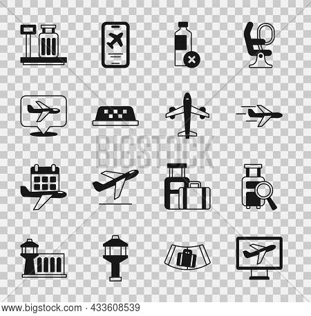 Set Plane, Lost Baggage, No Water Bottle, Taxi Car Roof, Scale With Suitcase And Icon. Vector