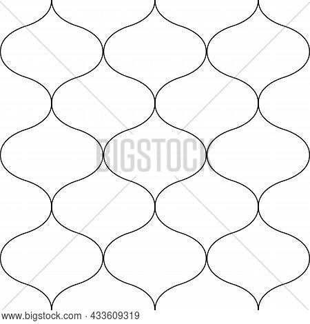 Ogee Abstract Vector Seamless Pattern Background With Retro Shapes Net Texture. Neutral Black White