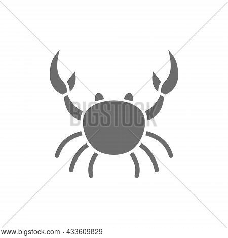 Crab, Aquatic Animal Grey Icon. Isolated On White Background