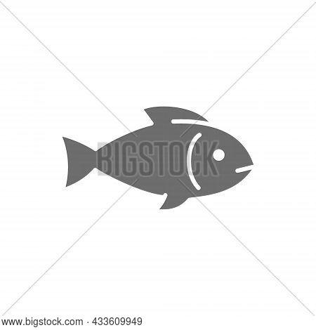 Fish, Aquatic Animal Grey Icon. Isolated On White Background