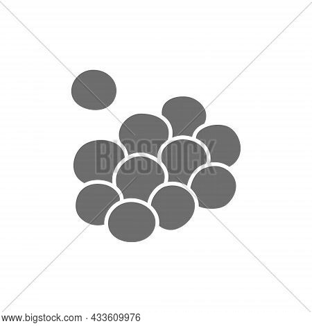 Vector Caviar, Reptile Egg, Cell Grey Icon.