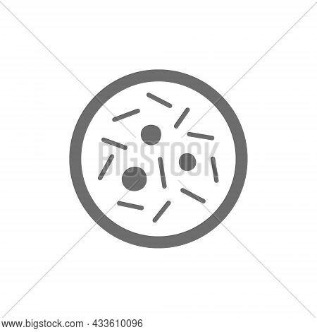 Microbe, Bacteria, Virus In Petri Dish Grey Icon.