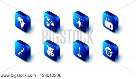 Set Paw Print, Spider, First Aid Kit, Monkey, Arrow, Hippo Or Hippopotamus, Hunting Gun And Map Of A