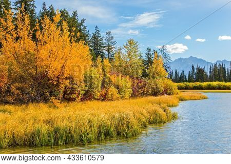 Grandiose landscape in the Rocky Mountains of Canada. Lake Vermillon among firs, birches and aspens.