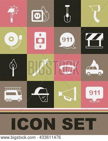 Set Emergency Call 911, Burning Car, Road Barrier, Fire Shovel, Alarm System, Ringing Bell, Firefigh