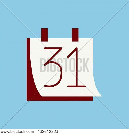 December 31 Colorful Colorful Icon. New Year`s Eve Red Illustration. Vector Calendar Art On White Ba