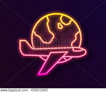 Glowing Neon Line Globe With Flying Plane Icon Isolated On Black Background. Airplane Fly Around The