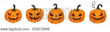 Halloween Pumpkin Set With Scared, Horror And Smile Face, Vector Illustration. Cartoon Gourd With Em