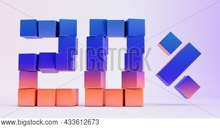 Colorful Boxes Forming The Number Twenty Isolated On White Background, 3d Render