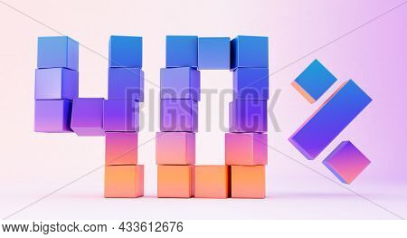 Colorful Boxes Forming The Number Forty Isolated On White Background, 3d Render