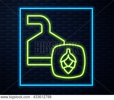 Glowing Neon Line Traditional Brewing Vessels In Brewery Icon Isolated On Brick Wall Background. Bee