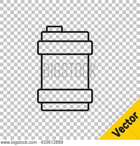 Black Line Metal Beer Keg Icon Isolated On Transparent Background. Vector
