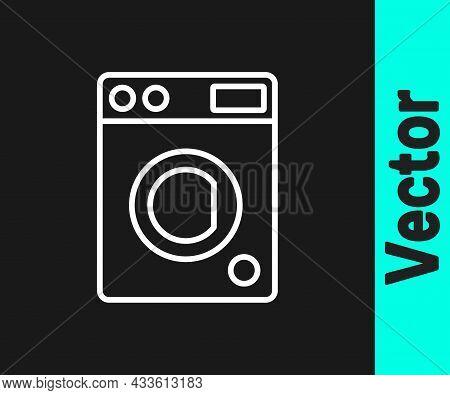 White Line Washer Icon Isolated On Black Background. Washing Machine Icon. Clothes Washer - Laundry