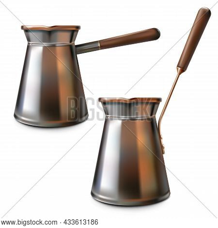 Vector Copper Turkish Cezves Isolated On White Background