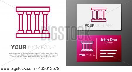 Logotype Line Prison Window Icon Isolated On White Background. Logo Design Template Element. Vector