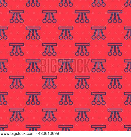 Blue Line Pendulum Icon Isolated Seamless Pattern On Red Background. Newtons Cradle. Vector