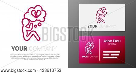 Logotype Line Broken Heart Or Divorce Icon Isolated On White Background. Love Symbol. Valentines Day