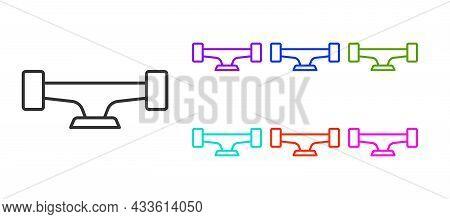 Black Line Skateboard Wheel Icon Isolated On White Background. Skateboard Suspension. Skate Wheel. S