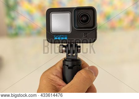 Frankfurt, Germany - 20th September 2021: A German Photographer Bought The All New Gopro Hero 10 Act