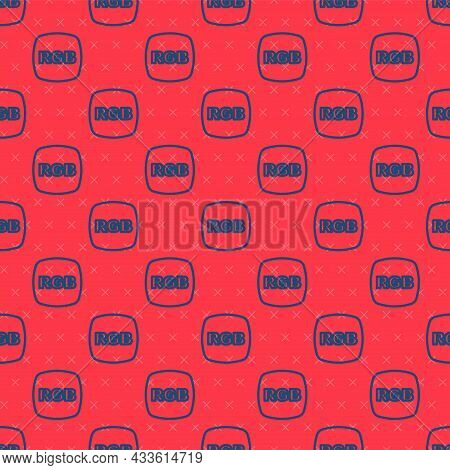 Blue Line Speech Bubble With Rgb And Cmyk Color Mixing Icon Isolated Seamless Pattern On Red Backgro