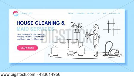 Vector Illustration Apartment House Cleaning Maid Service Woman Cleans The Room, Wipes Dust Professi
