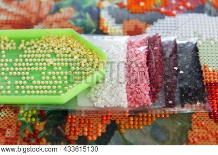 Multicolored Diamond Strases In Container For Handmade Process Of Creation Of Diamond Painting 3d Fr