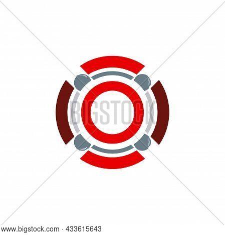 Stylish Circle Letter O Logo Icon Flat Concept Vector Graphic Design