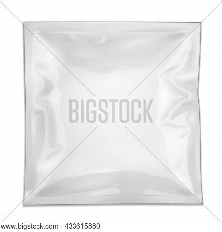 Mockup Blank Retort Foil Pouch Packaging Medicine Drugs Or Coffee, Salt, Sugar, Sachet, Sweets Or Co