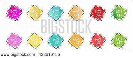 Set Of Colored Grunge Stickers With A 60 And 65 Percent Discount For Business, Sales, Advertising Pr