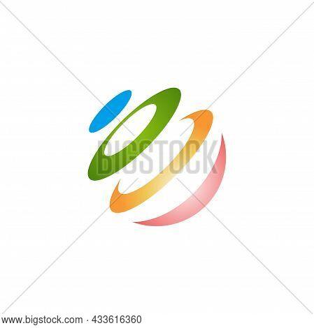 Stylish Circle Twist Logo Icon Flat Concept Vector Graphic Design