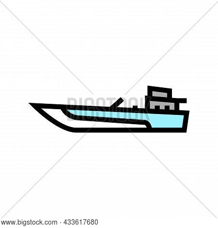 Jet Boat Color Icon Vector. Jet Boat Sign. Isolated Symbol Illustration