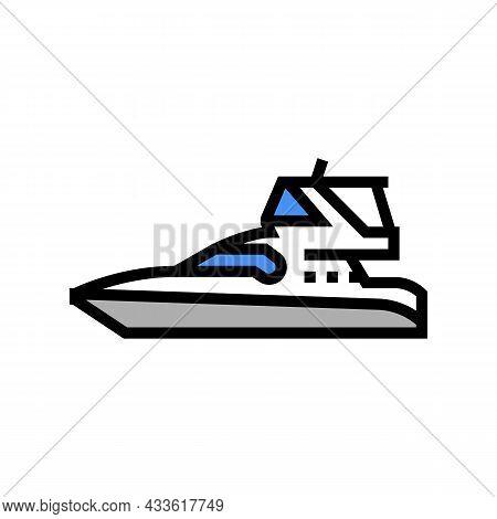Sedan Bridge Boat Color Icon Vector. Sedan Bridge Boat Sign. Isolated Symbol Illustration