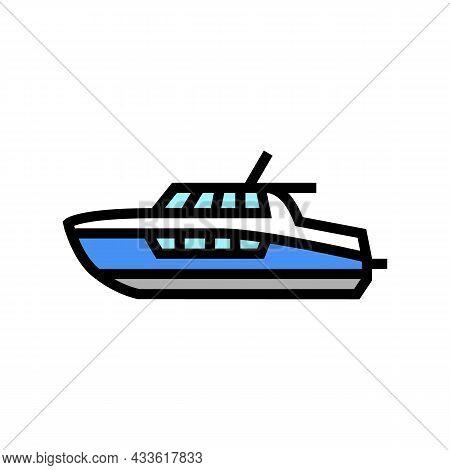 Cabin Cruiser Boat Color Icon Vector. Cabin Cruiser Boat Sign. Isolated Symbol Illustration