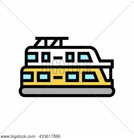 Houseboat Boat Color Icon Vector. Houseboat Boat Sign. Isolated Symbol Illustration