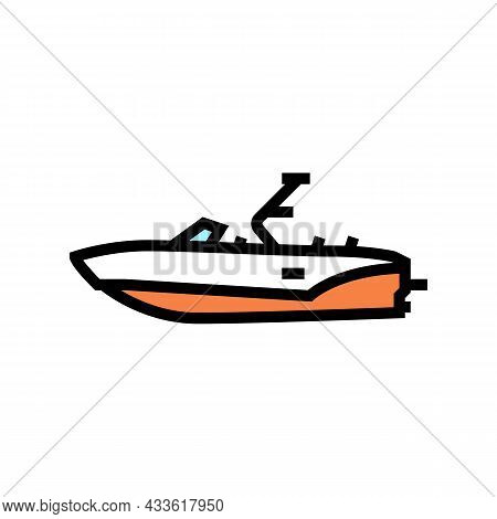 Bowrider Boat Color Icon Vector. Bowrider Boat Sign. Isolated Symbol Illustration