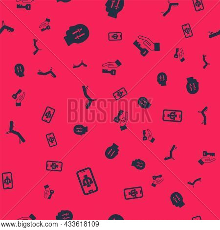 Set Psychologist Online, Solution To The Problem, Armchair And On Seamless Pattern. Vector