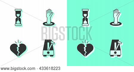 Set Metronome With Pendulum, Old Hourglass, Broken Heart Or Divorce And Helping Hand Icon. Vector