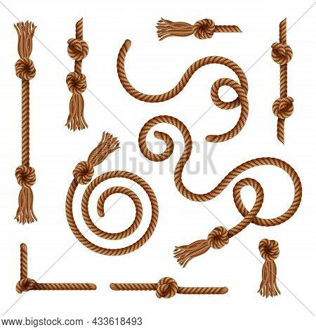 Curtain Tassels, Golden Braided Rope Brushes, Vector Realistic Decorative Frame Elements. Baroque An