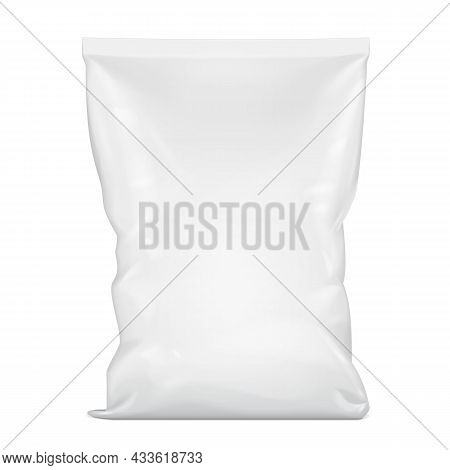 Mockup Blank Foil Or Paper Food Stand Up Pouch Snack Sachet Bag Packaging. Illustration Isolated On