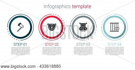 Set Wooden Axe, Tiger Head, Hippo Or Hippopotamus And Animal Cage. Business Infographic Template. Ve