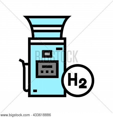Hydrogen Gas Station Color Icon Vector. Hydrogen Gas Station Sign. Isolated Symbol Illustration